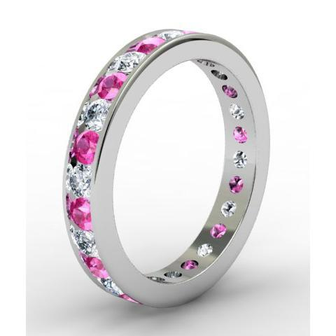 Round Diamond and Pink Sapphire Eternity Ring in Channel Setting Gemstone Eternity Rings deBebians
