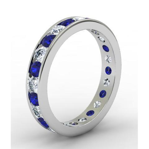 1.50cttw Channel Set Eternity Band with Round Sapphires and Diamonds Gemstone Eternity Rings deBebians