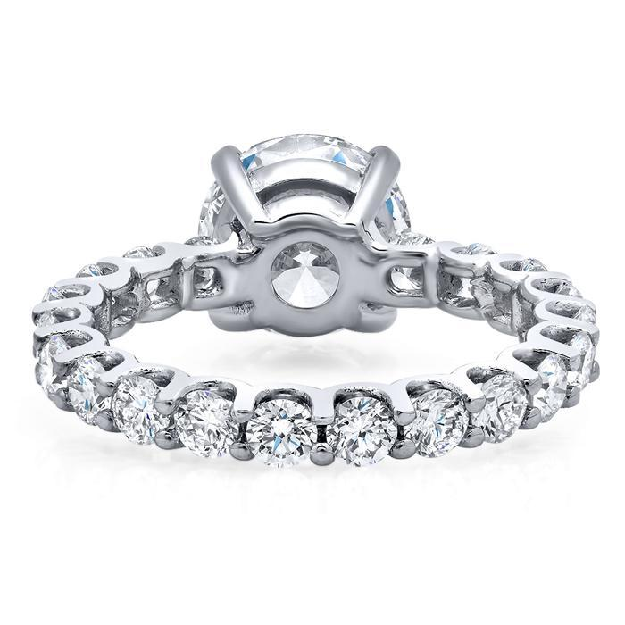 Round Diamond Eternity Engagement Ring Diamond Accented Engagement Rings deBebians
