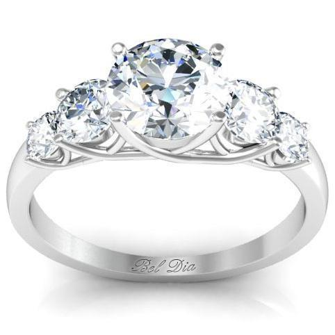 Round Five Diamond Engagement Ring with Trellis Setting Diamond Accented Engagement Rings deBebians
