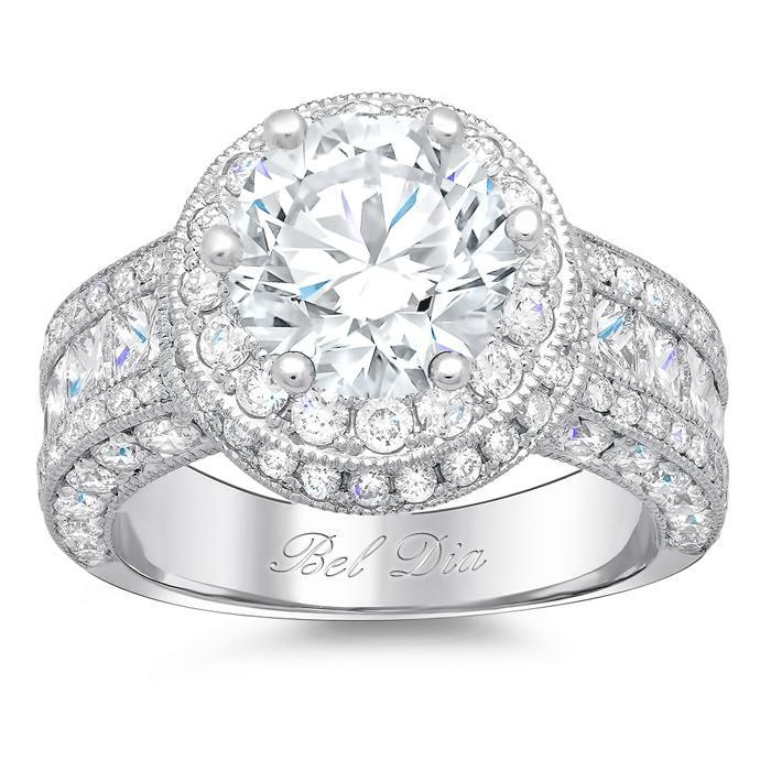 Round Diamond Halo Setting with Channel Set Princess Diamonds Halo Engagement Rings deBebians