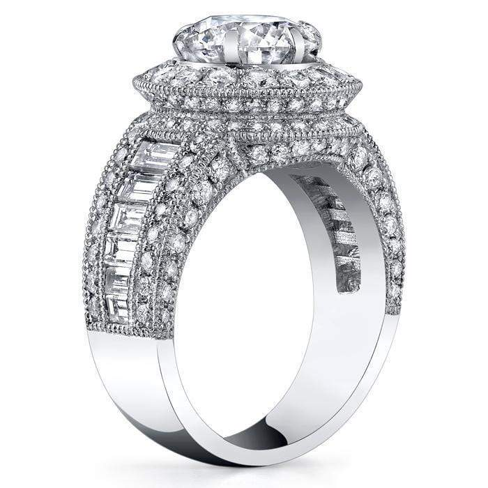 Round Diamond Halo Setting 2.40 cttw Halo Engagement Rings deBebians