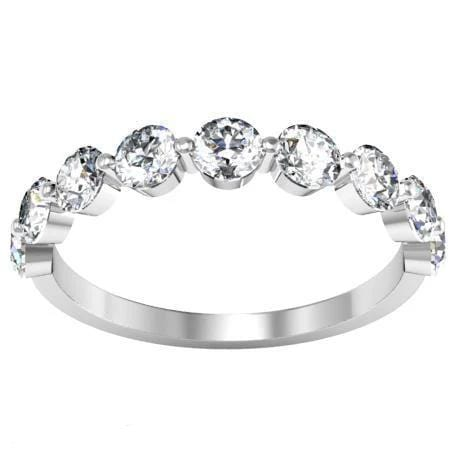 Round Diamond Nine Stone Band Diamond Wedding Rings debebians