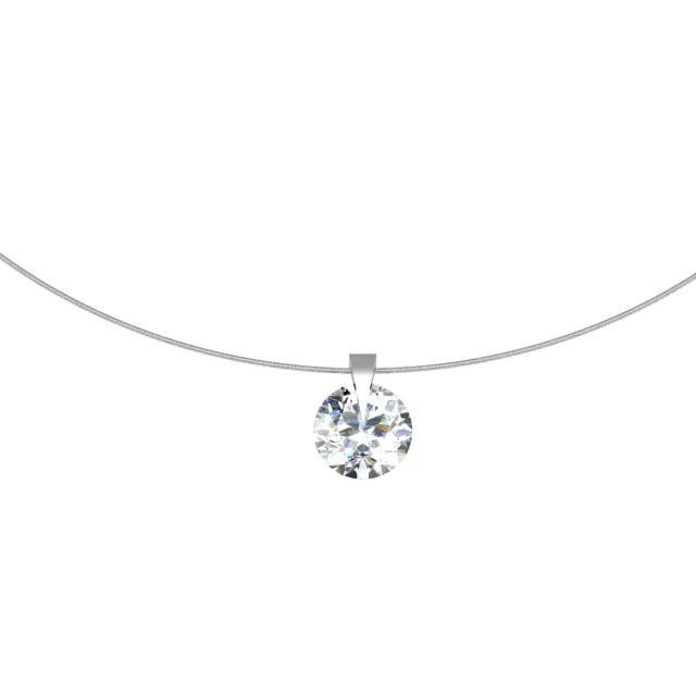 Single Prong Round Diamond Pendant Necklace Solitaire Necklaces deBebians