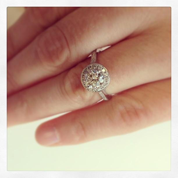 Round Engagement Ring with Halo Halo Engagement Rings deBebians