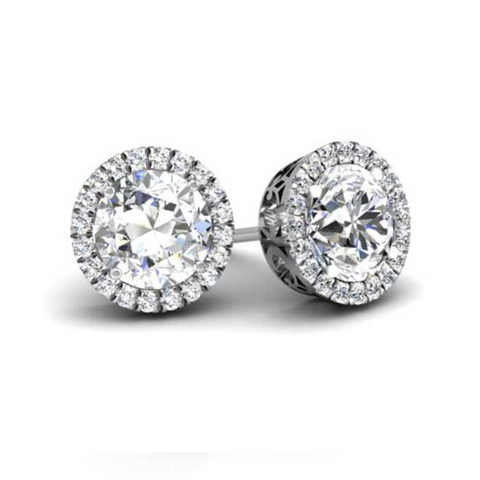 Forever One Round Moissanite Cushion Halo Earrings