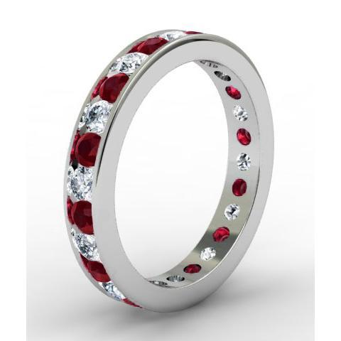 Round Garnet and Diamond Eternity Ring in Channel Setting Gemstone Eternity Rings deBebians