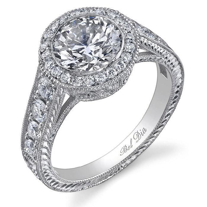 Round Halo Diamond Ring 1.00 cttw Halo Engagement Rings deBebians