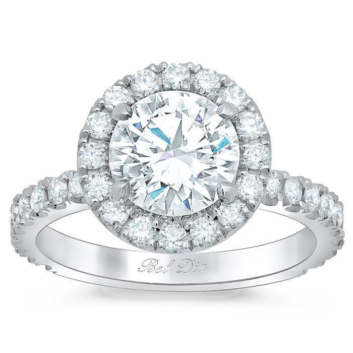 Round Halo Engagement Ring with Diamond Shank Halo Engagement Rings deBebians