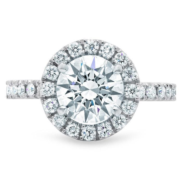 Round Halo Engagement Ring with Diamonds Halo Engagement Rings deBebians