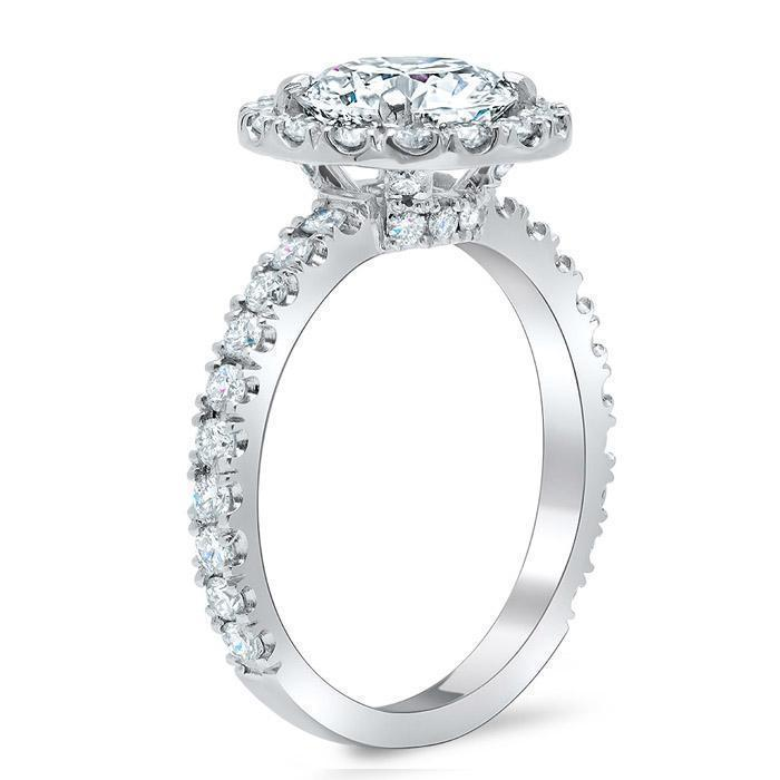 Round Halo Engagement Ring with Diamond Encrusted Basket Halo Engagement Rings deBebians