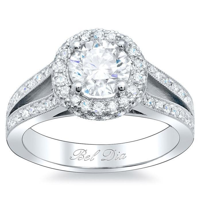Round Halo Engagement Ring with Split Shank Halo Engagement Rings deBebians