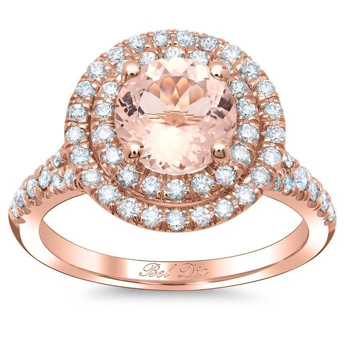 Round Morganite Double Halo Engagement Ring with Baby Split Rose Gold & Morganite Engagement Rings deBebians