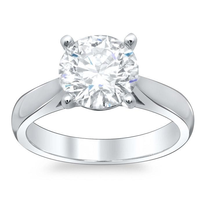 Round Open Tapered Solitaire Engagement Ring 2.7mm Solitaire Engagement Rings deBebians