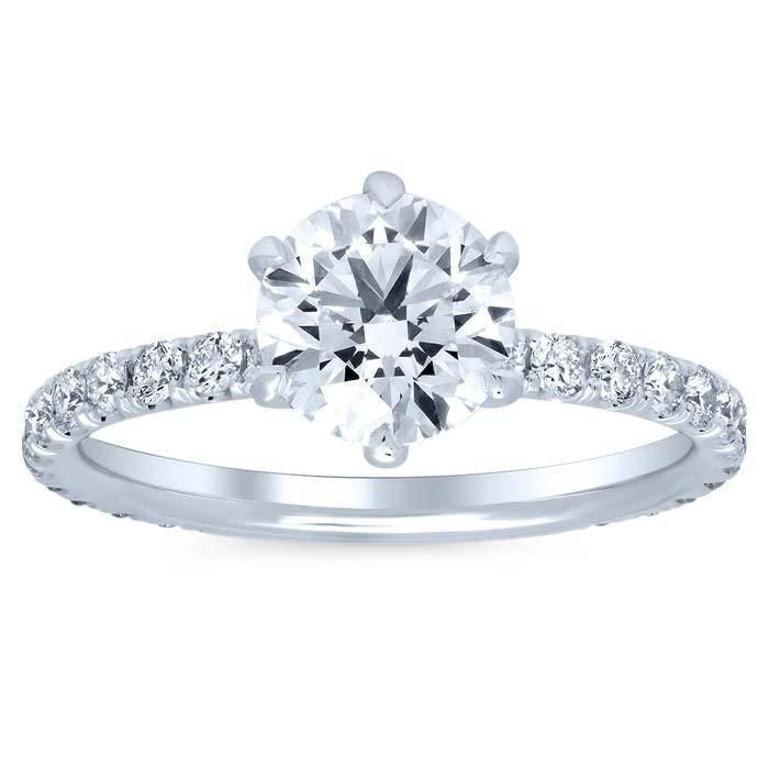 7.5mm Round Forever One Charles & Colvard Pave Engagement Ring Moissanite Engagement Rings deBebians