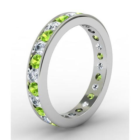 Round Peridot and Diamond Eternity Ring in Channel Setting Gemstone Eternity Rings deBebians
