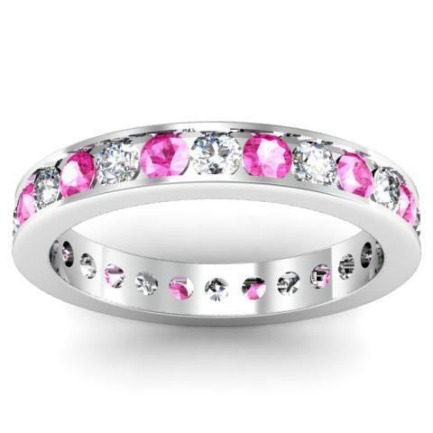 Round Pink Sapphire and Diamond Eternity Band in Channel Setting Gemstone Eternity Rings deBebians