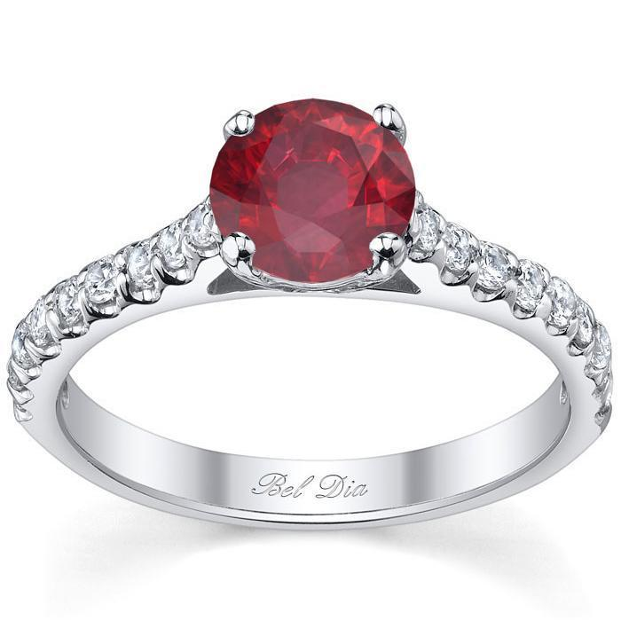 Round Ruby Engagement Ring with Diamonds Ruby Engagement Rings deBebians