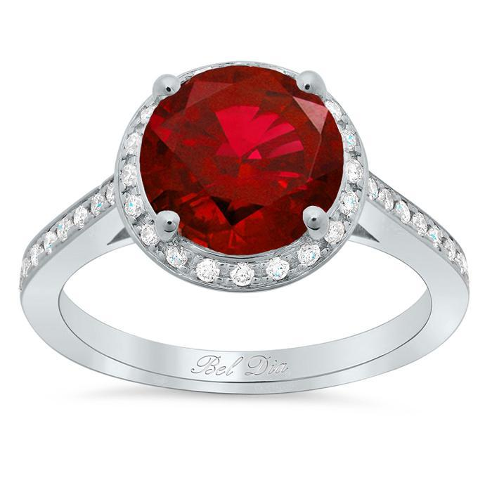 Round Ruby Halo Engagement Ring Ruby Engagement Rings deBebians