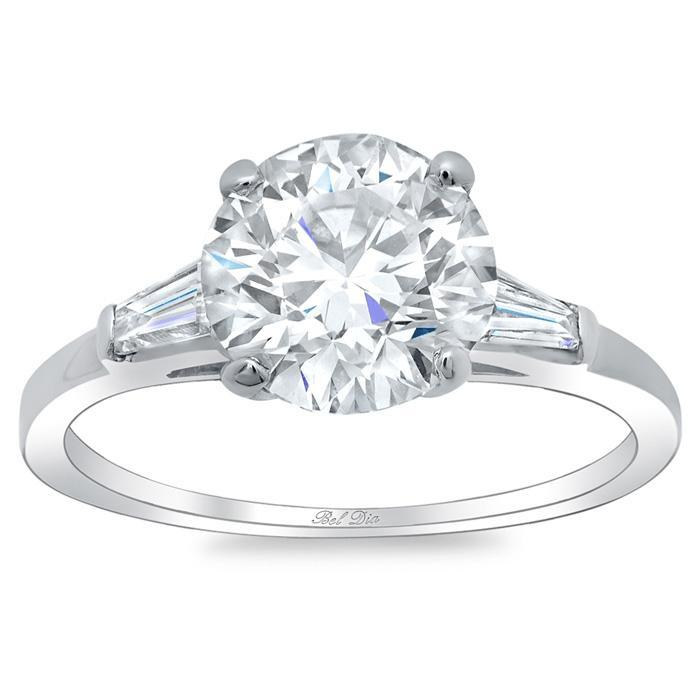 Round Three Stone Engagement Ring with Baguettes Diamond Accented Engagement Rings deBebians