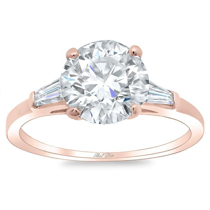 Round Three Stone Engagement Ring With Baguettes