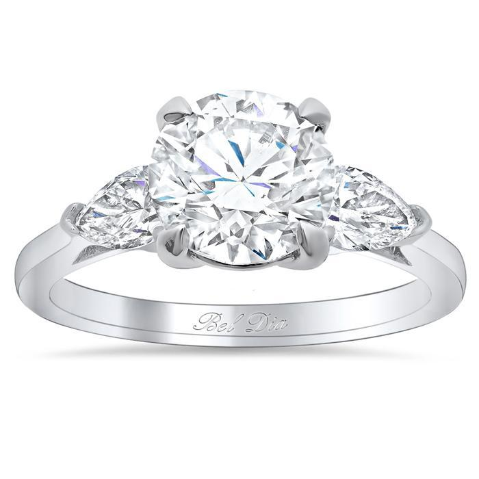 Round Three Stone Engagement Ring with Pears Diamond Accented Engagement Rings deBebians