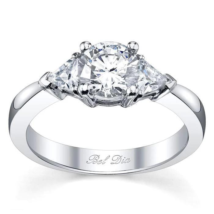 Three Stone Engagement Ring with Trillions Diamond Accented Engagement Rings deBebians