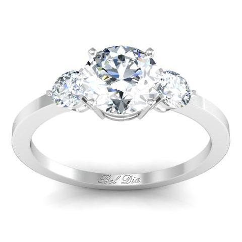 Round Three Stone Ring Diamond Accented Engagement Rings deBebians