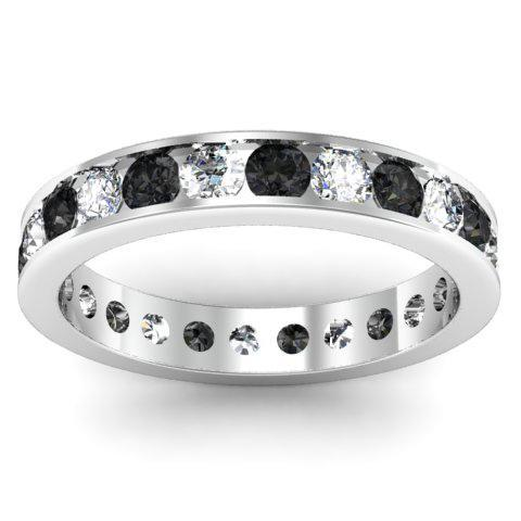 Round White and Black Diamond Eternity Band in Channel Setting Gemstone Eternity Rings deBebians