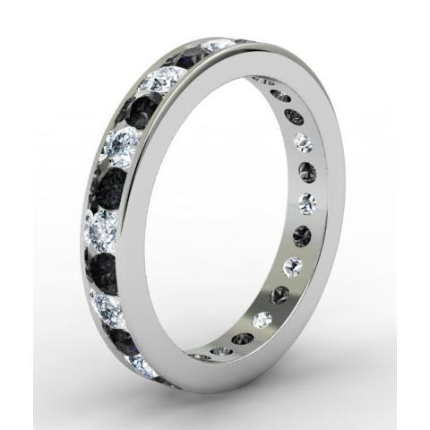 Round White and Black Diamond Eternity Ring in Channel Setting Gemstone Eternity Rings deBebians