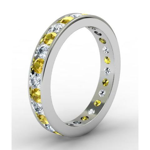 Round Yellow Sapphire and Diamond Eternity Band in Channel Setting Gemstone Eternity Rings deBebians