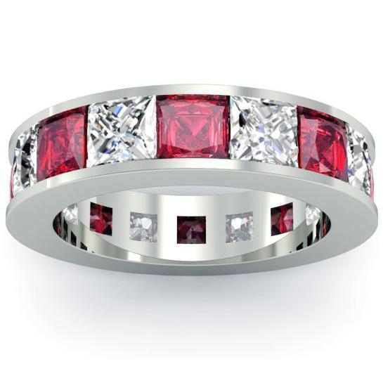 Ruby and Diamond Eternity Anniversary Band Gemstone Eternity Rings deBebians