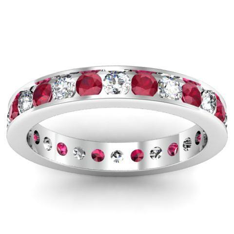 Ruby and Diamond Eternity Ring in Channel Setting Gemstone Eternity Rings deBebians