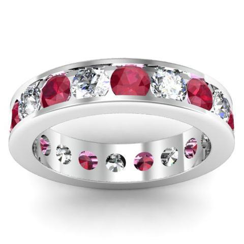 Ruby and Diamond Gemstone Eternity Band in Channel Setting Gemstone Eternity Rings deBebians