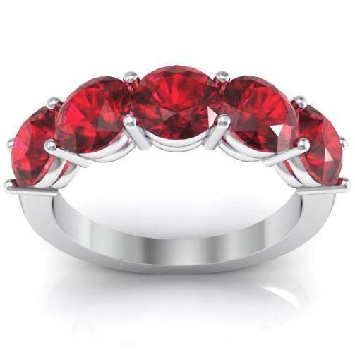 3.00cttw Shared Prong Ruby Five Stone Ring Five Stone Rings deBebians