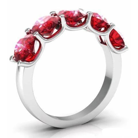 3.00cttw U Prong Ruby Five Stone Band Five Stone Rings deBebians