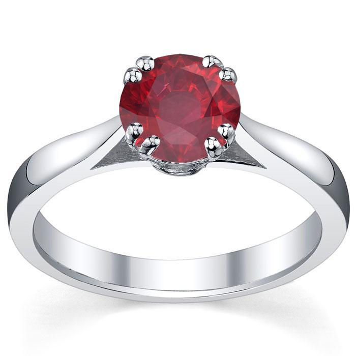 Ruby Double Prong Tapered Solitaire Solitaire Engagement Rings deBebians