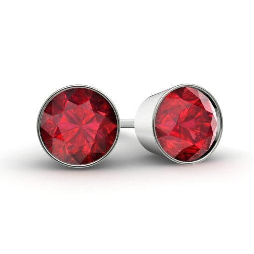 Ruby Stud Earrings Gemstone Stud Earrings deBebians