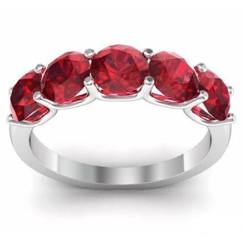 2.00cttw U Prong Ruby Five Stone Band Five Stone Rings deBebians