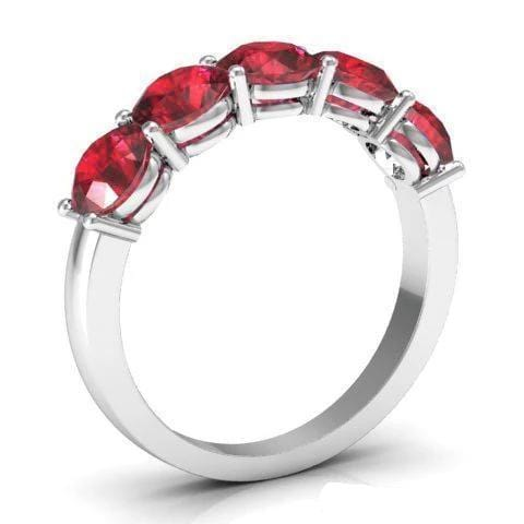2.00cttw Shared Prong Ruby Five Stone Ring Five Stone Rings deBebians