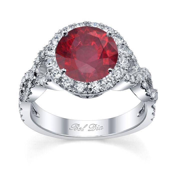 Ruby Halo with Twisted Shank Ruby Engagement Rings deBebians