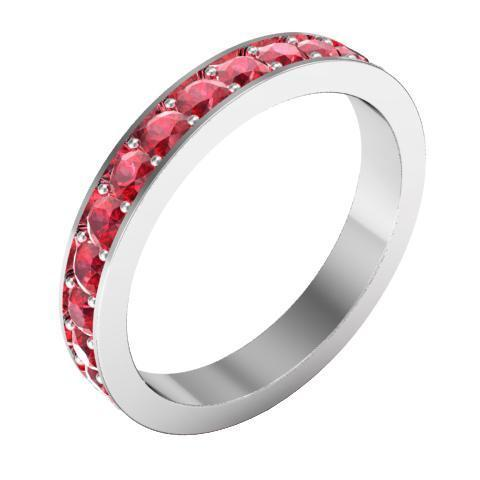 Ruby Pave Eternity Ring (1.30 cttw) Gemstone Eternity Rings deBebians