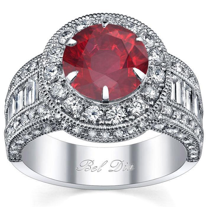 Ruby Round Halo Engagement Ring Ruby Engagement Rings deBebians