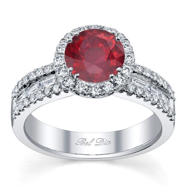 Ruby Round Halo Ring with Baguettes Ruby Engagement Rings deBebians