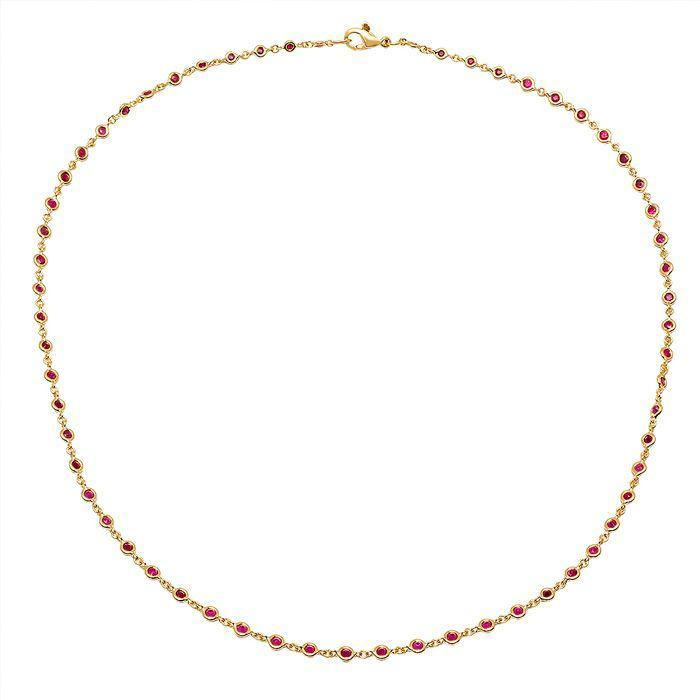 Ruby Station Necklace in Yellow Gold Gemstone Station Necklaces deBebians