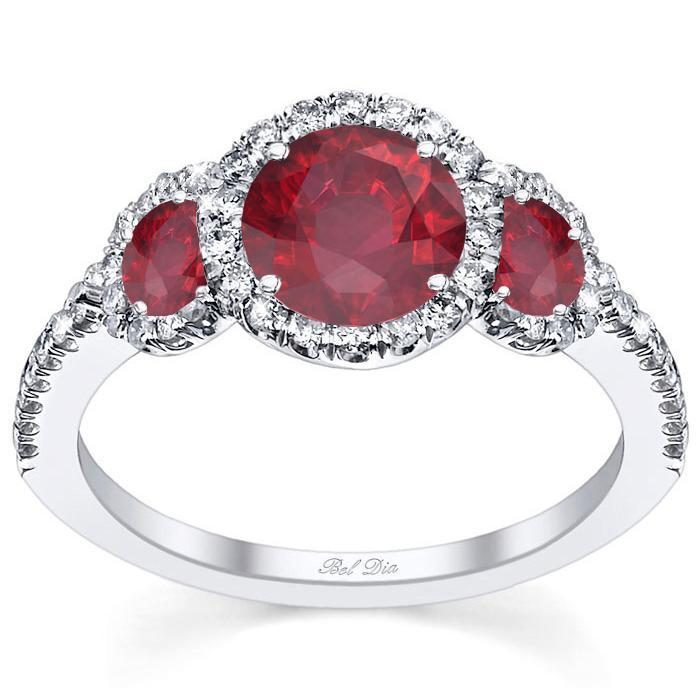 Ruby Three Stone Halo Engagement Ring Ruby Engagement Rings deBebians