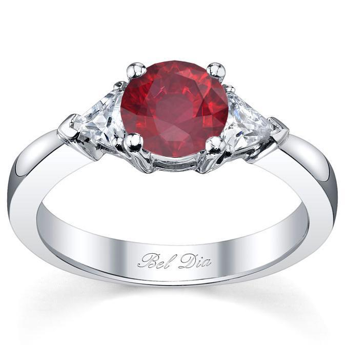 Ruby Three Stone Ring with Trillions Ruby Engagement Rings deBebians