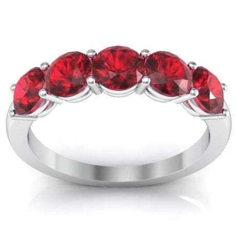 1.50cttw Shared Prong Ruby Five Stone Ring Five Stone Rings deBebians