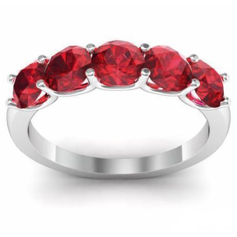 1.50cttw U Prong Ruby Five Stone Band Five Stone Rings deBebians