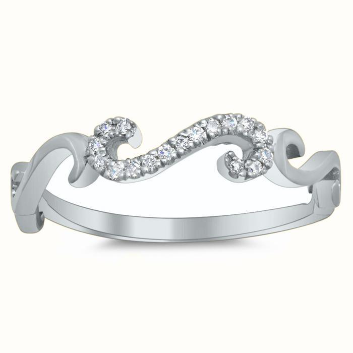 S Pave Diamond Ring